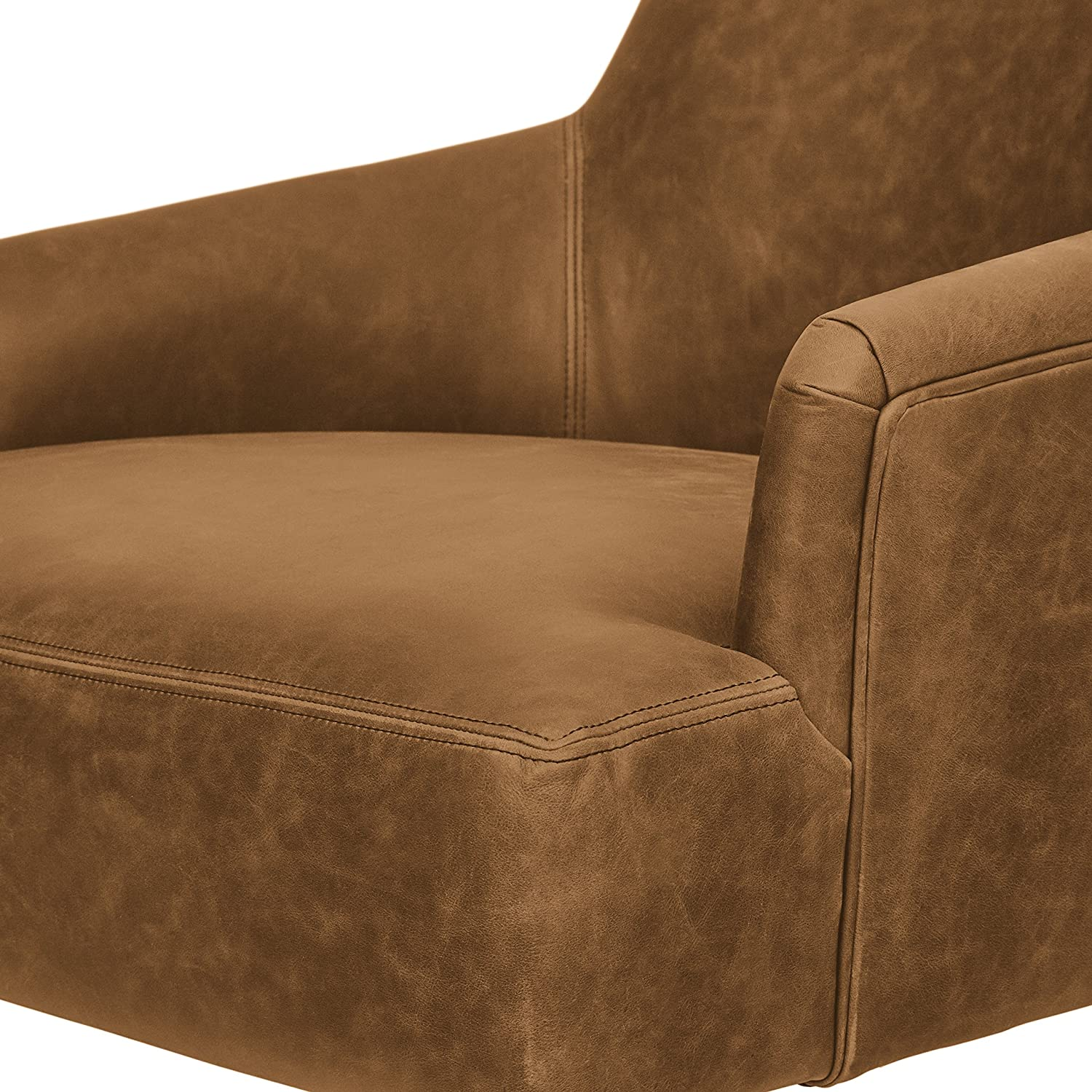 Rivet Zane Mid-Century Modern Swivel Top-Grain Leather Accent Chair, 28.75 W, Saddle
