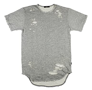 Thrasher Distressed Long Curved Double Scoop French Terry T-Shirt (XXL) 6143bdb2ceb8