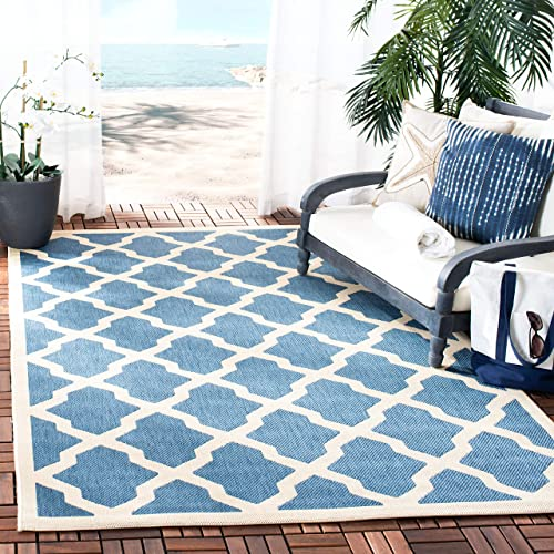 Safavieh Courtyard Collection CY6903-243 Blue and Beige Indoor Outdoor Area Rug 9 x 12
