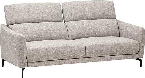 Amazon Brand Rivet Kaden Mid-Century Modern Adjustable Headrest Loveseat Sofa, 77.5 W, Light Grey