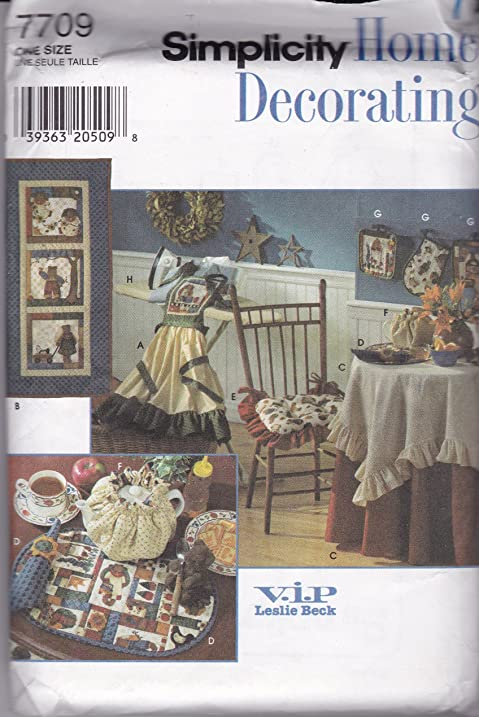 Simplicity 7709 Sewing Pattern Crafts Home Decorating V.I.P. Leslie Beck  Kitchen Accessories