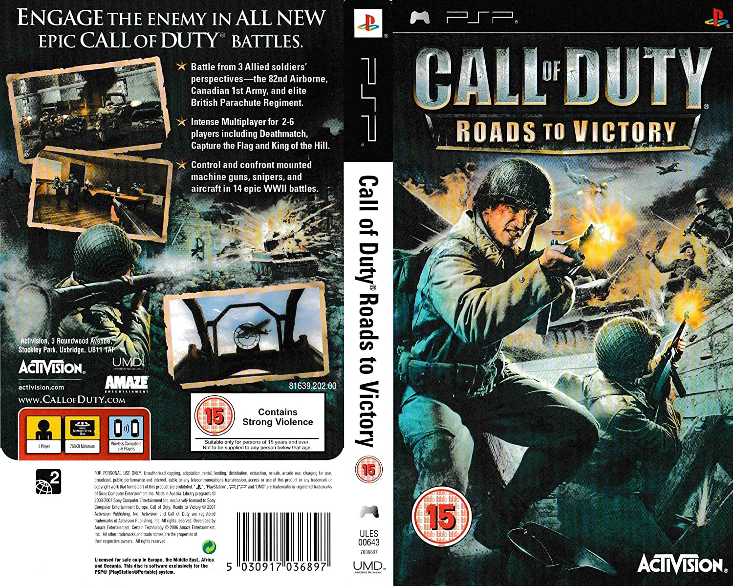 Call Of Duty 3 Roads To Victory Psp Video Games