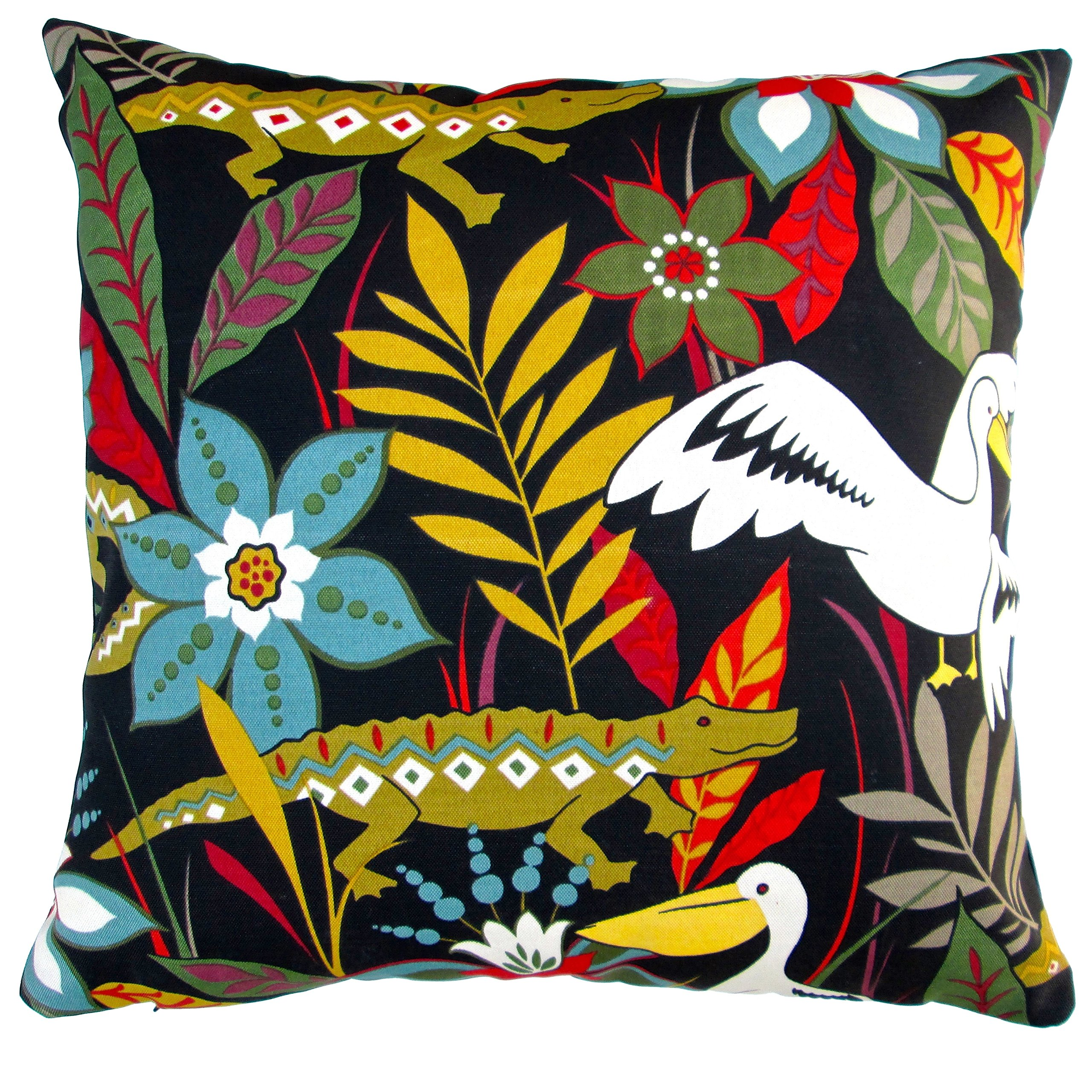ARTISAN PILLOWS Indoor/ Outdoor 18-inch Kids Colorful Tropical Crocodile and Bird and Flower Black Throw Pillow (Set of 2)