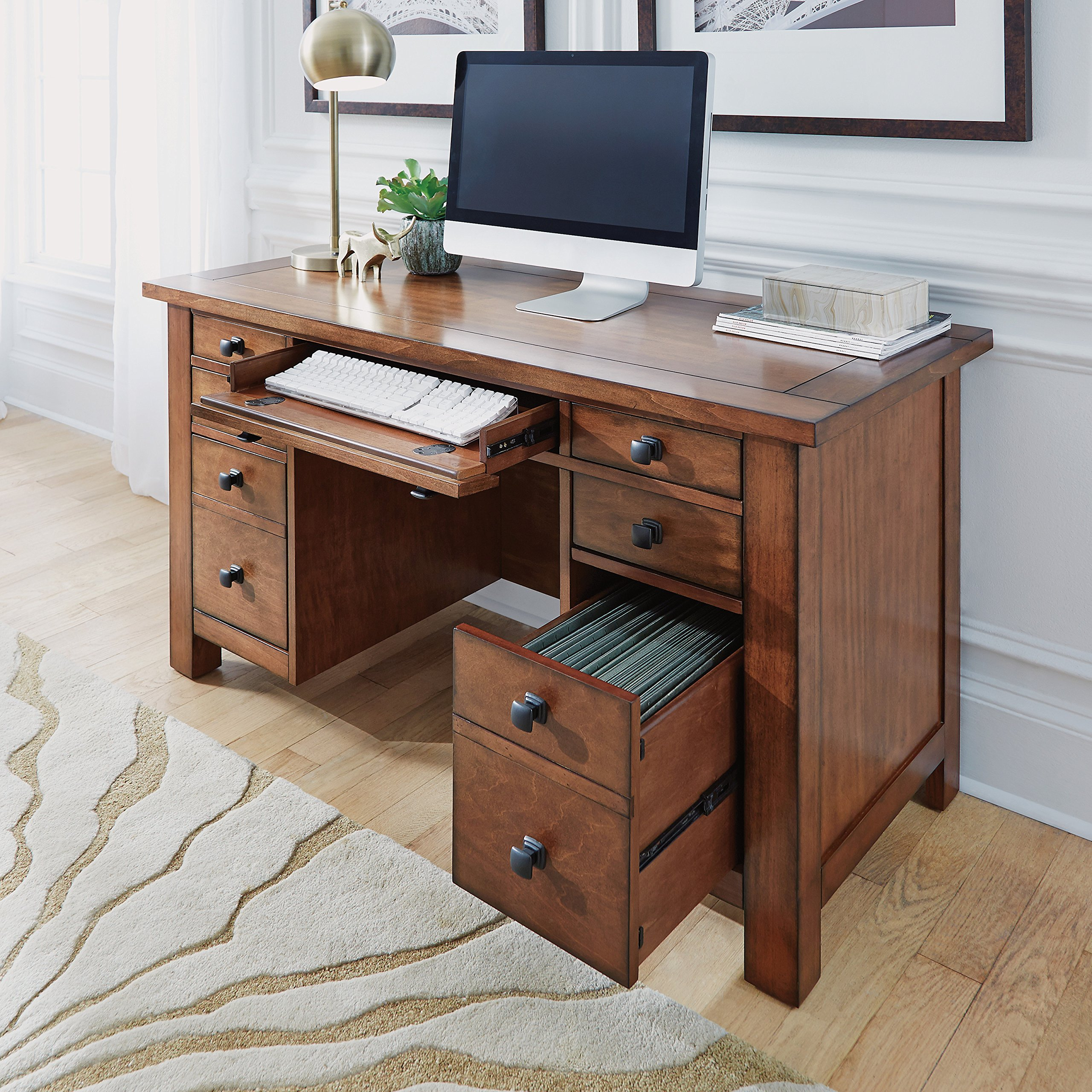 Tahoe Aged Maple Executive Pedestal Desk by Home Styles by Home Styles