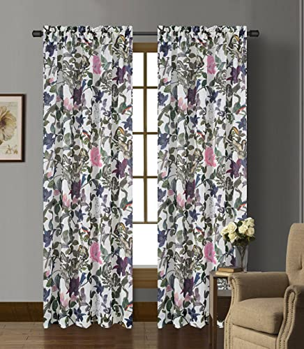 Urbanest 54-inch by 96-inch Set of 2 Faux Linen Sheer Woodland Drapery Curtain Panels