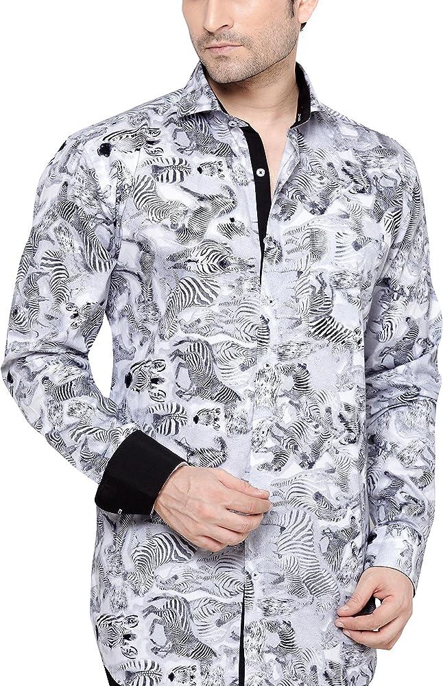 ARCHIE JACKSON - Camisa casual - Paisley - Clásico - Manga Larga - para hombre gris gris Medium: Amazon.es: Ropa y accesorios