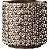 Bloomingville Scalloped Round Ceramic Flower Pot, Nougat