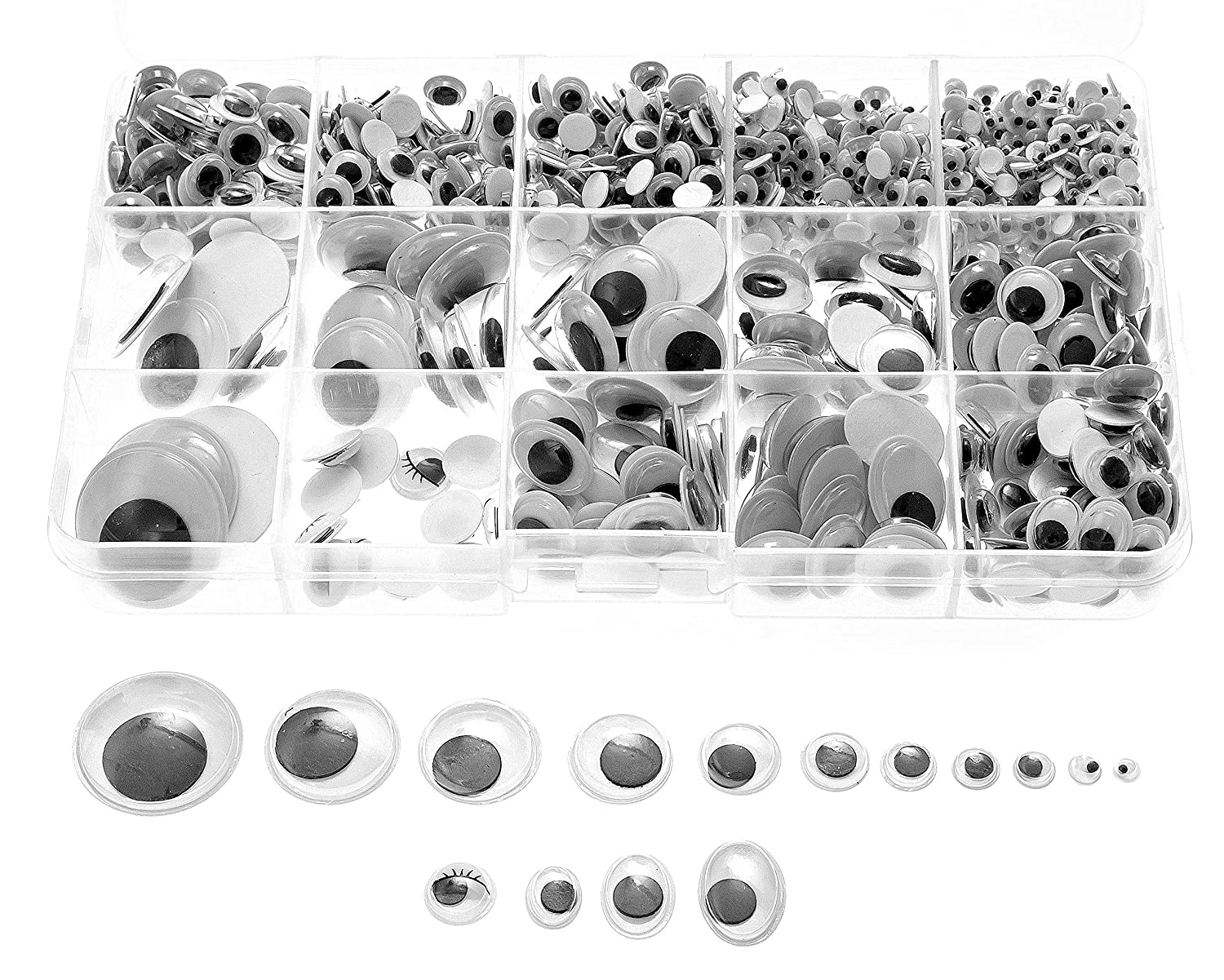 Variety Value Pack SANC 1 box/lot (approx.1120 pcs) 0.16 inches (4mm) to 1 inch (25mm) round Plastic self-adhesive black googly wiggle eyes Wide Variety Assorted Sizes Sorrento Crafts