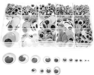 Variety Value Pack SANC 1 Box/lot (Approx.1120 pcs) 0.16 inches (4mm) to 1 inch (25mm) Round Plastic self-Adhesive Black Googly Wiggle Eyes Wide Variety Assorted Sizes