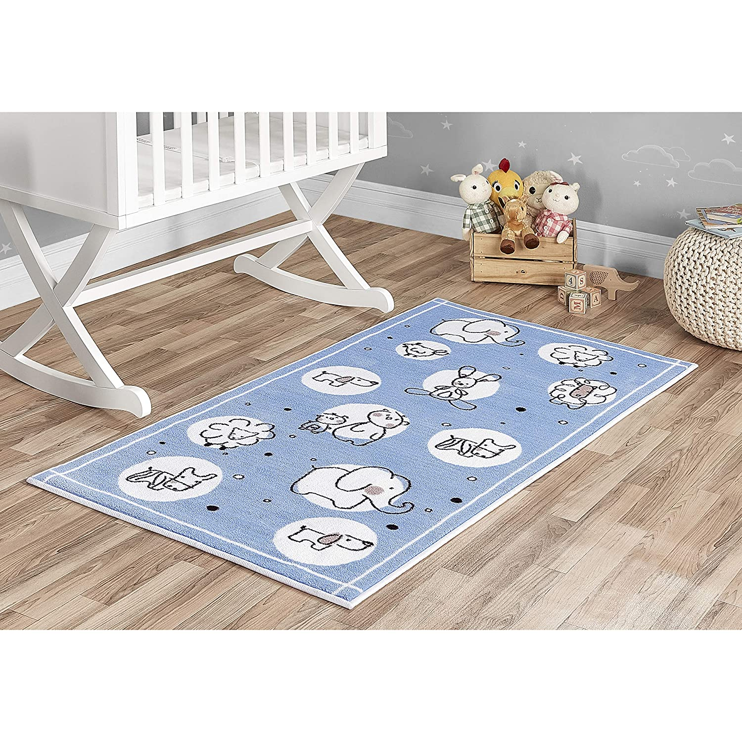 Evolur Home Farm Life Nursery Rug in Powder Blue Dream on Me Dropship 1004