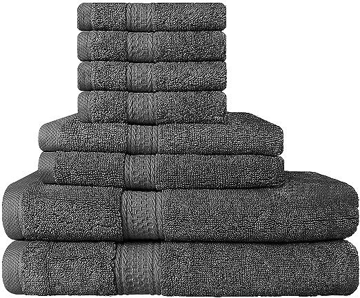 Set Premium di Asciugamani 8 Pezzi (Grigio); 2 Asciugamani da ...