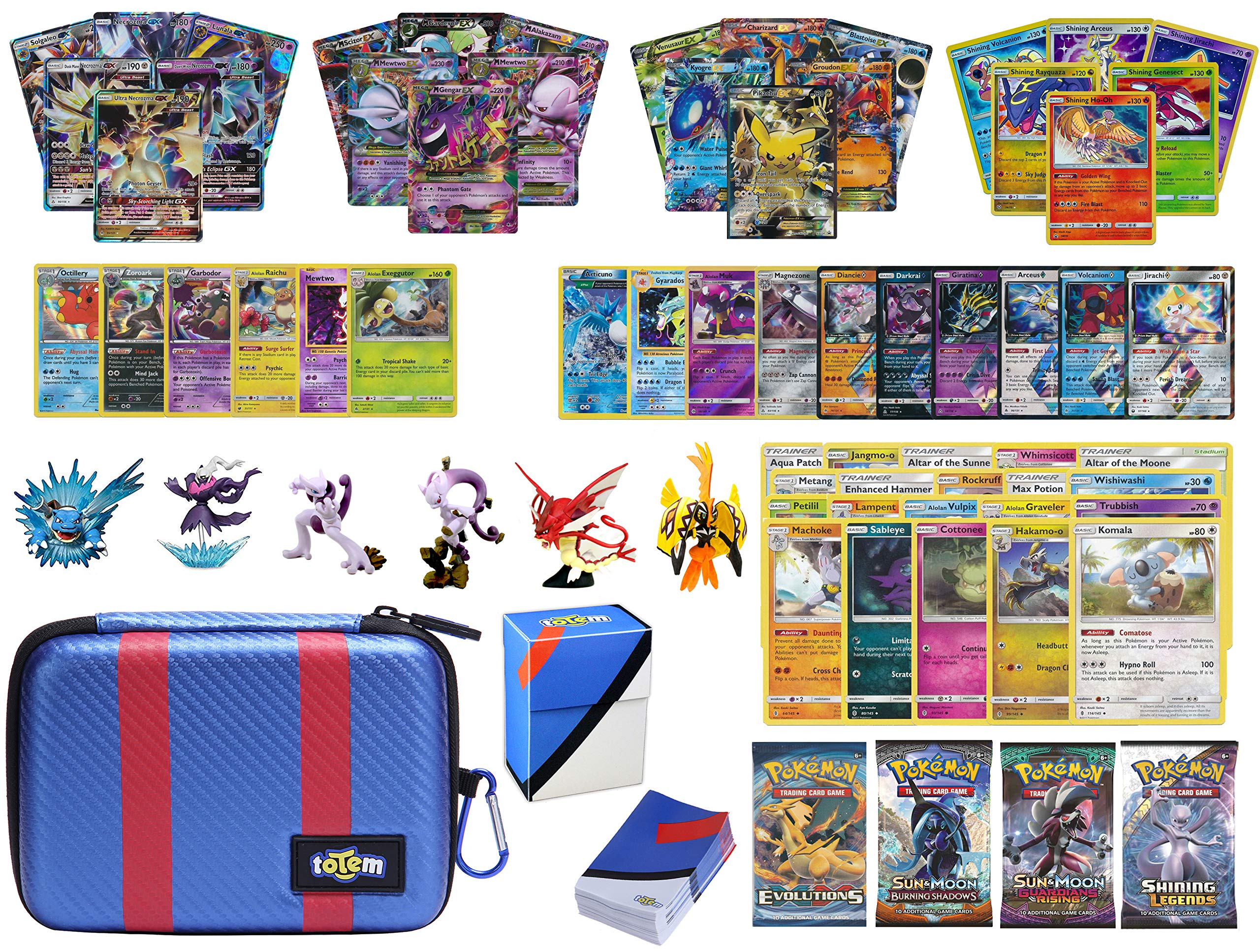 Totem World Pokemon Premium Collection 100 Cards with GX Mega EX Shining Holo 10 Rares 4 Booster Pack - 100 Sleeves - Great Ball Theme Card Case - Deck Box and Figure