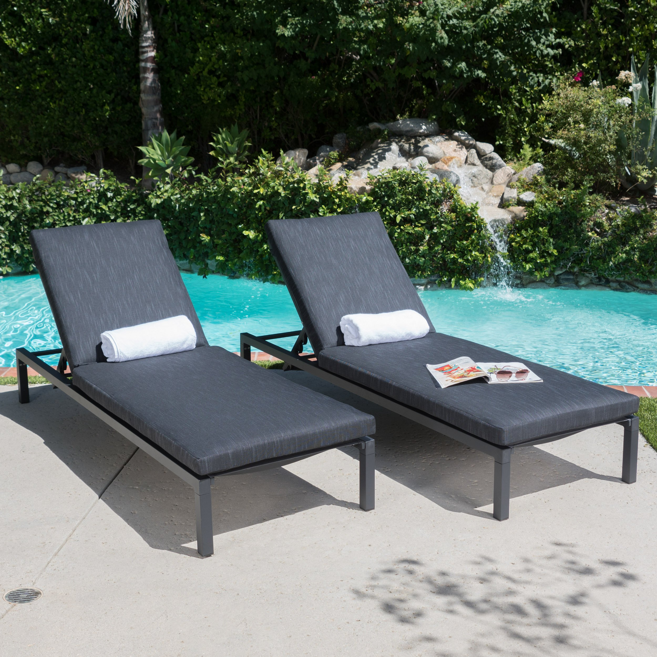 Great Deal Furniture Nealie Outdoor Mesh Black Aluminum Frame Chaise Lounge w/Water Resistant Cushion (Set of 2) by Great Deal Furniture