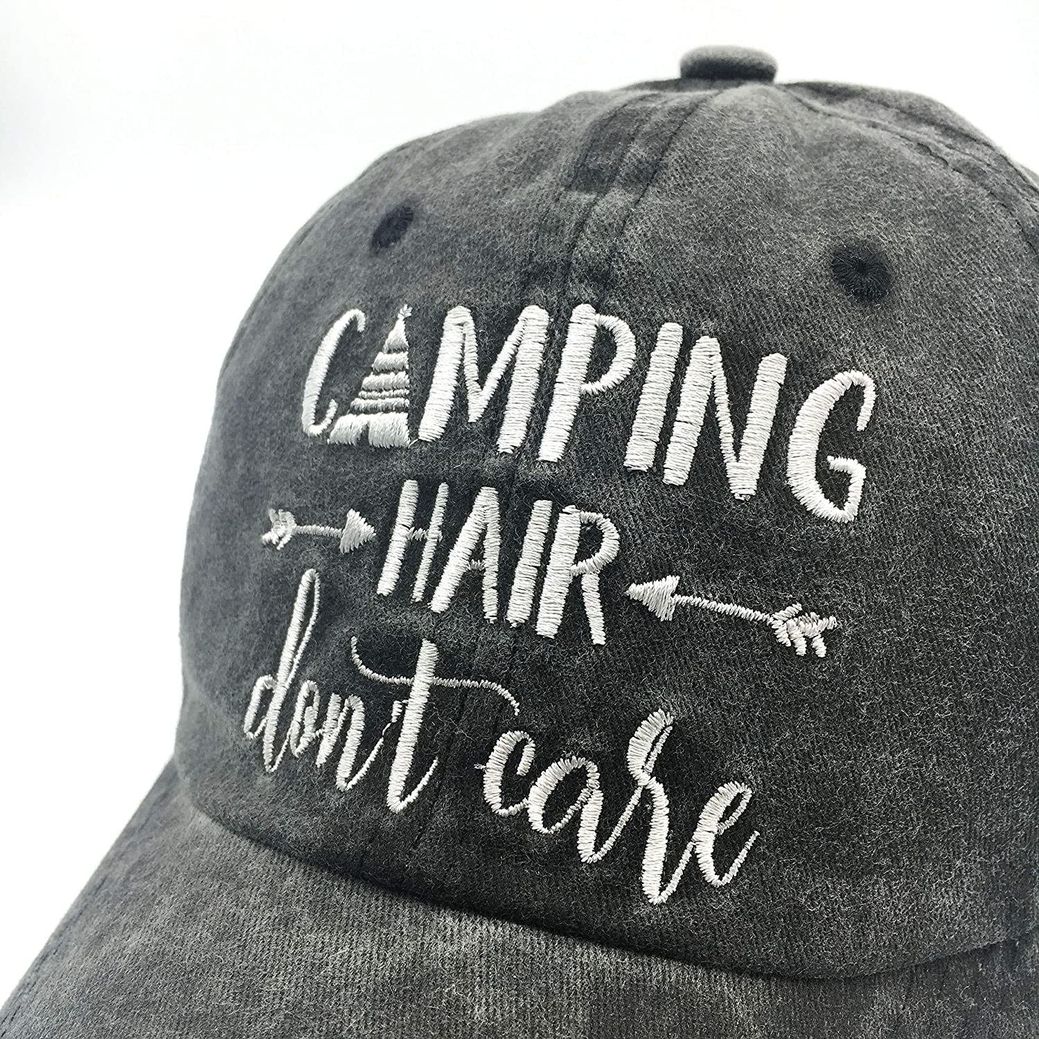 Waldeal Embroidered Camping Hair Don t Care Vintage Washed Cotton Low  Profile Adjustable Dad Hat Black at Amazon Women s Clothing store  b1164f67b03