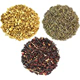 Dried Ginger, Hibiscus & Lavender Petals for Flavoring Kombucha Tea; 3-Pack Aromatic Flavor Sampler for Home Brewing
