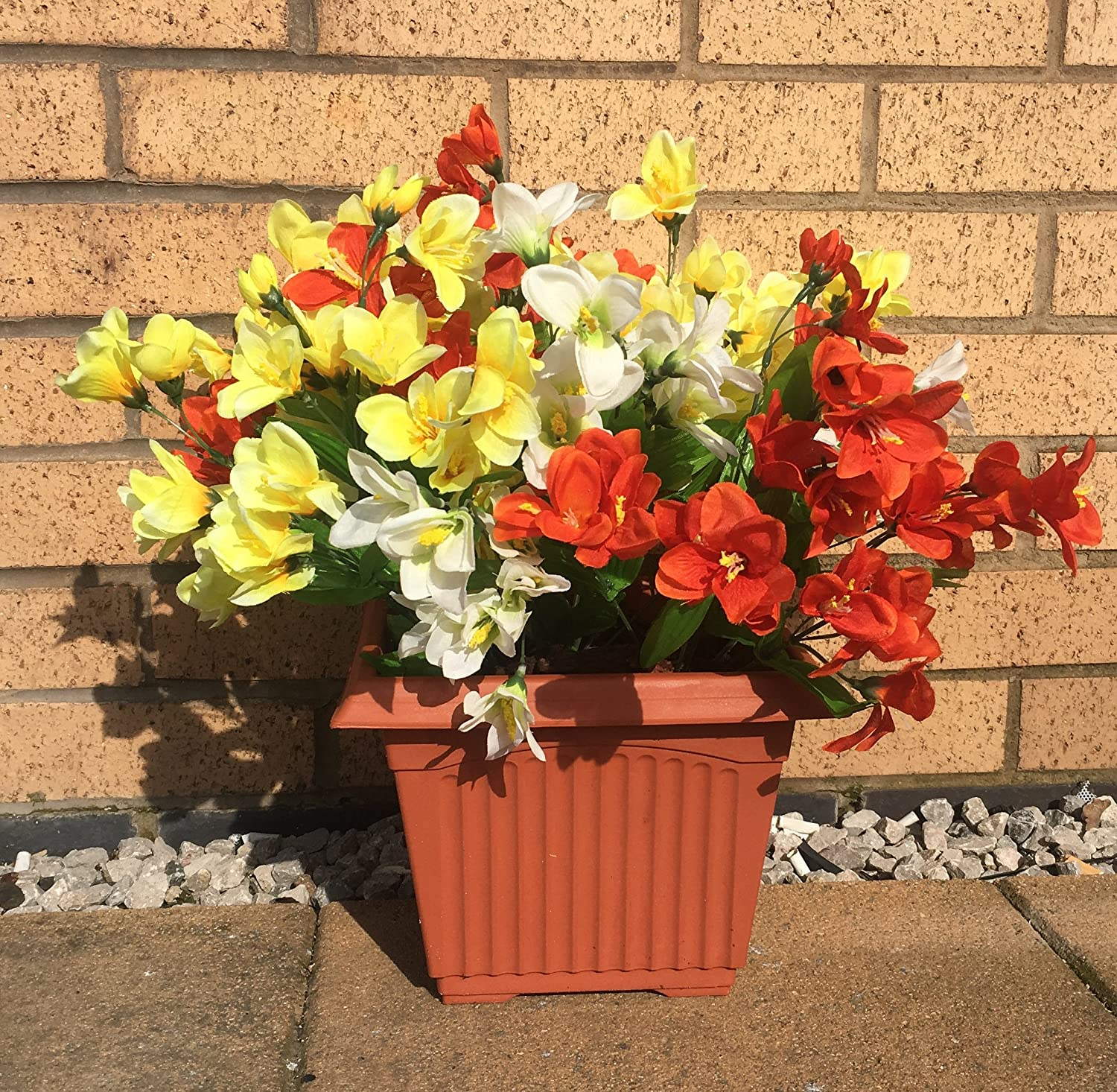 Artificial Flowers In Pot Outdoor Uv Proctected White Yellow And
