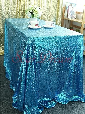 SoarDream 90u0026quot;x156u0026quot; Aqua Blue Sequin Tablecloth Elegant Sparkly  Sequin Table Cloth For Wedding