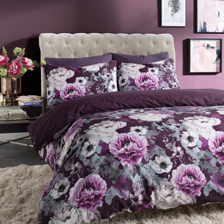 Pieridae - Set copripiumino reversibile con disegno floreale a inchiostro nei colori grigio e viola, completo di federe, Grey, Doppio