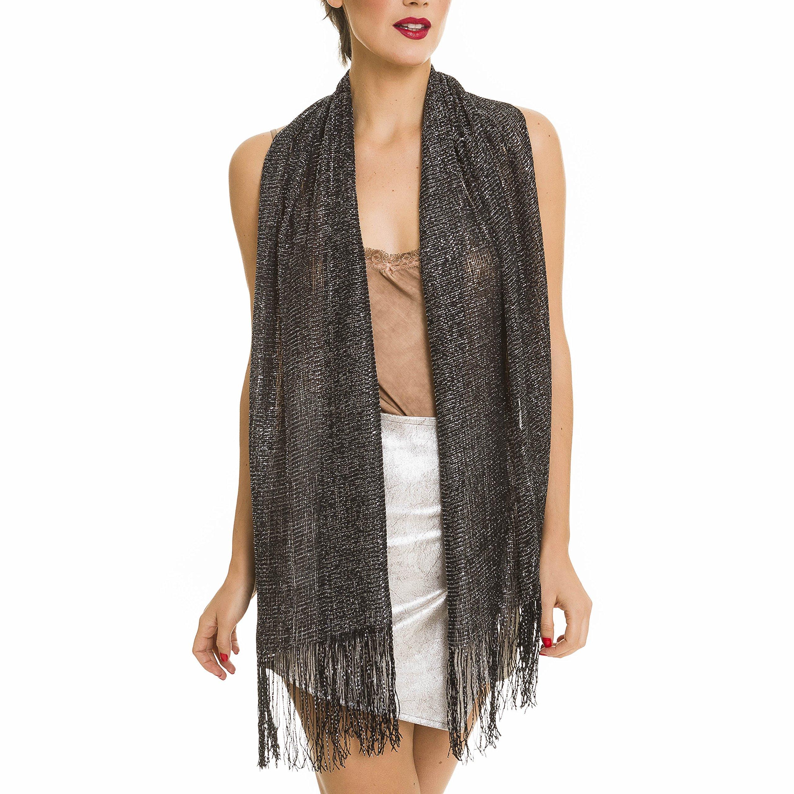 Shawl Wrap Fashion Scarf for Women Summer Fall: Evening Dresses, Wedding, Party, Bridal (Black)