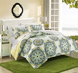 Chic Home Ibiza 3 Piece Duvet Cover Set Bedding with Decorative Shams, Full/Queen, Yellow