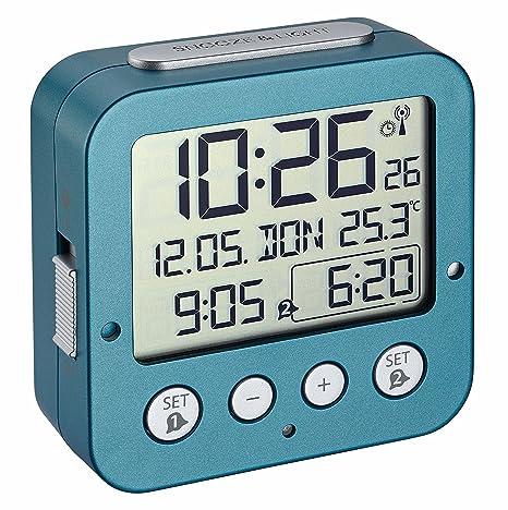 TFA Dostmann 60.2528 BINGO Radio Despertador electrónico con 2 alarmas (turquesa)