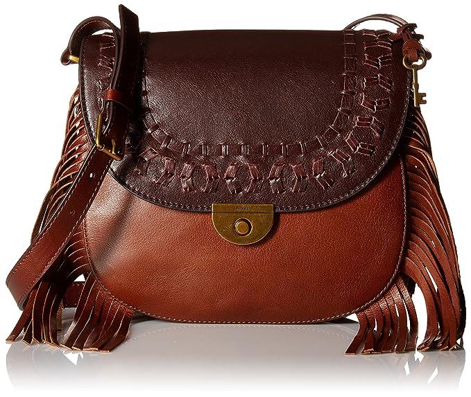 b8cb3fd3ac Fossil Women s EMI Fringe Large Saddle Bag Cross Body Handbag