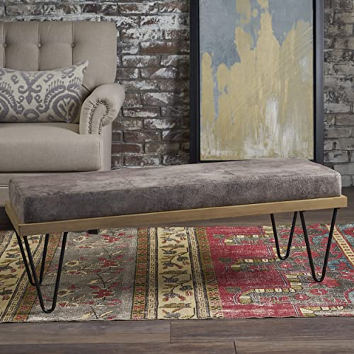 Christopher Knight Home Elaina Bench Perfect for Dining Table or Entry Way Danish, Minimal, Mid Century Modern Design Hairpin Leg Fabric in Greyish Brown, Matte Black