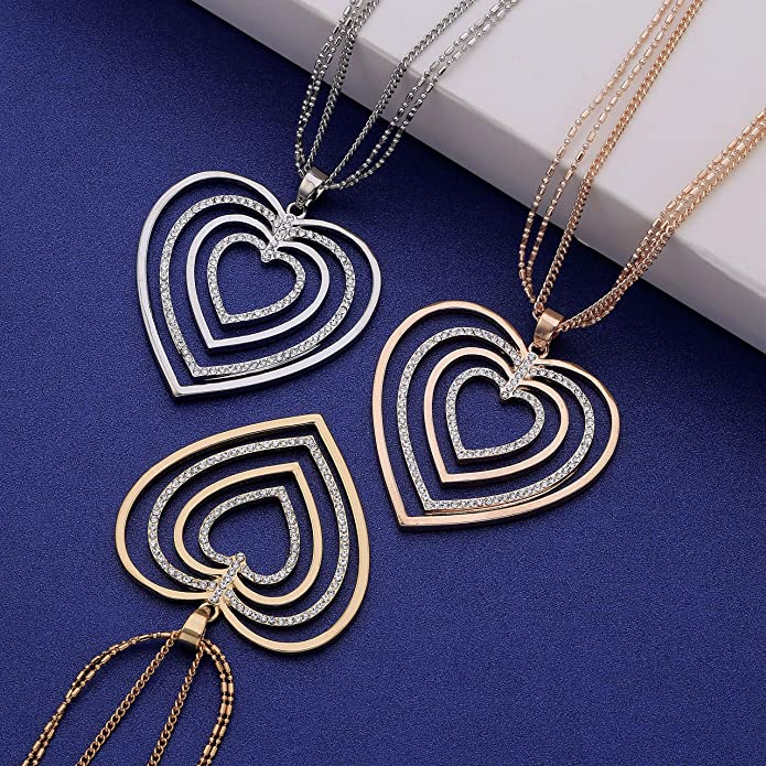 "Beautiful 26/"" long GOLD tone large diamante heart pendant  chain necklace"