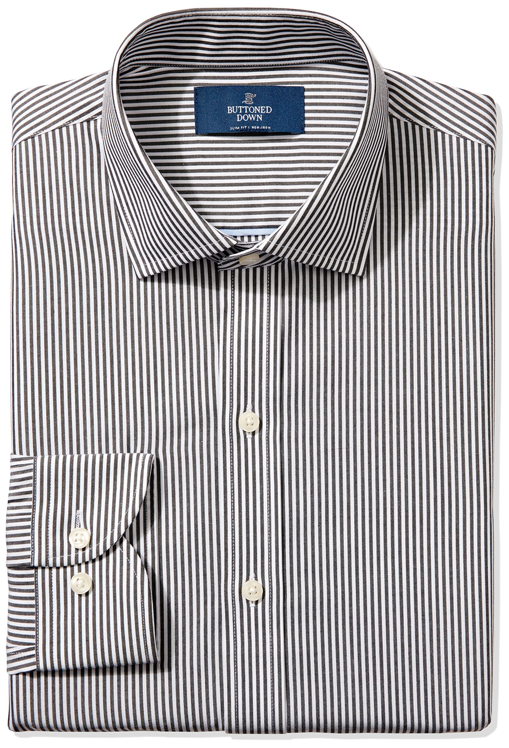 Buttoned Down Men's Slim Fit Spread-Collar Non-Iron Dress Shirt, black Bengal Stripe, 16.5'' Neck 37'' Sleeve