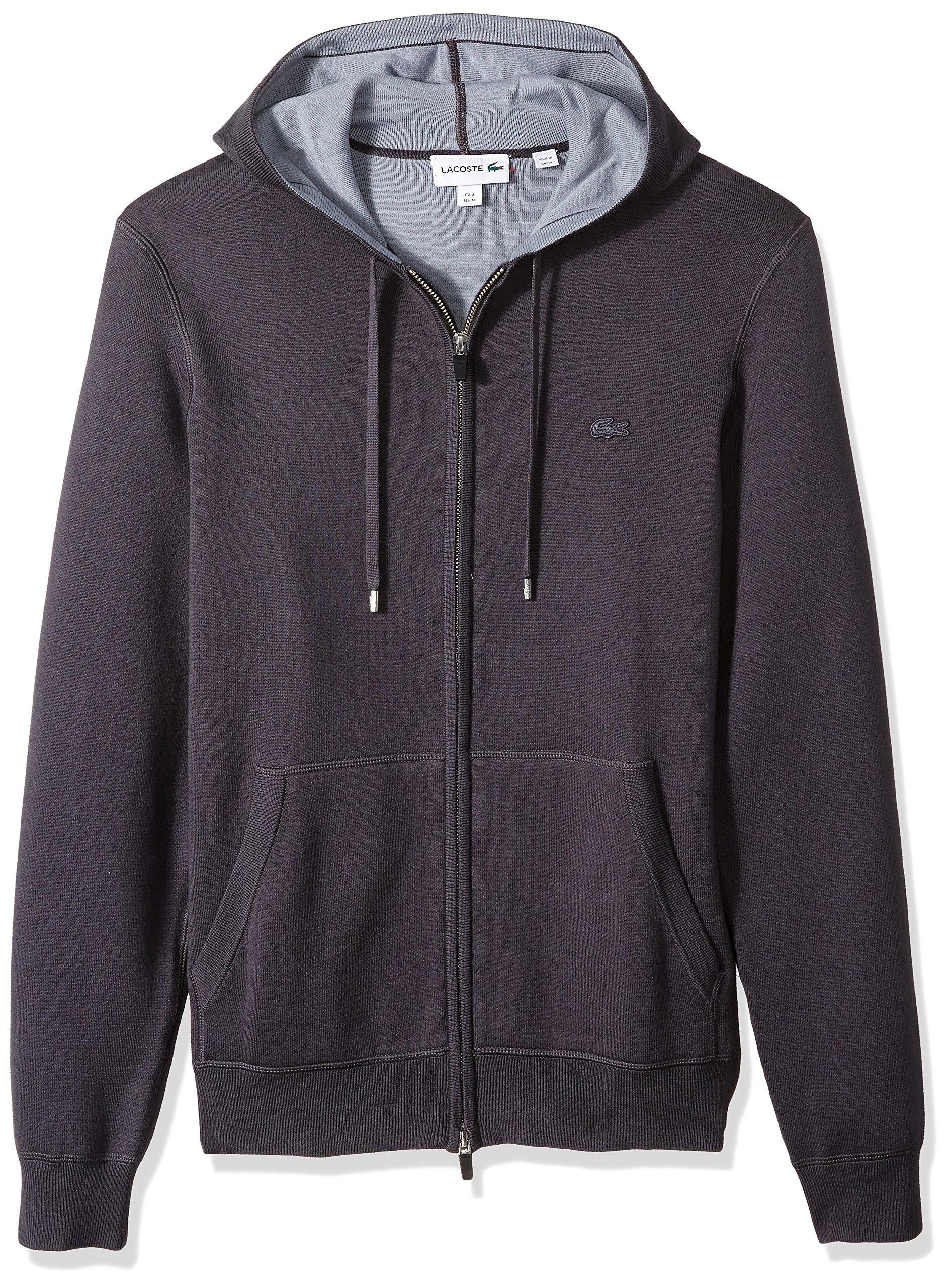 Lacoste Men's Doubleface Cotton and Poly Hoddie Full Zip Sweatshirt, Graphite/Mill Blue, 5