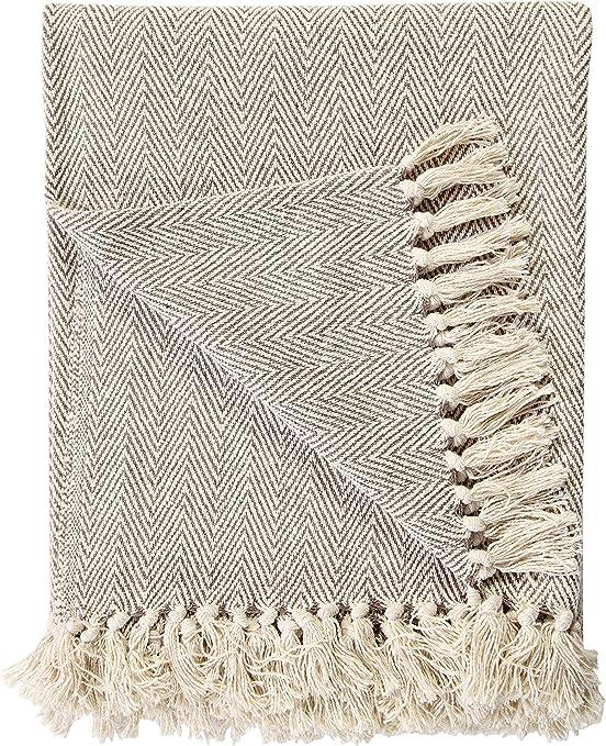 Manta de 220 x 250 cm de algodón natural con patrón de espiga EHC ...
