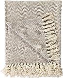 EHC 220 x 250 cms Natural Cotton Herringbone Sofa Arm Chair Bedspread Settee Throw, King