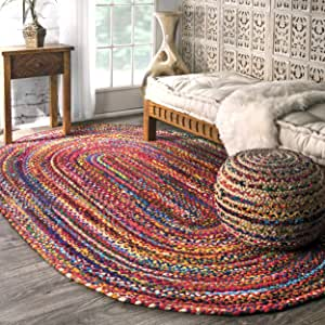 Amazon Com Nuloom Tammara Boho Cotton Hand Braided Area Rug 4 X 6 Oval Multi Furniture Decor
