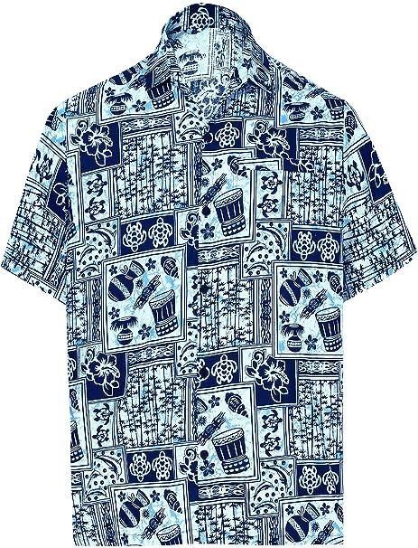 "7dbf6119 LA LEELA Cotton Casual Short Sleeve Shirt Navy Blue 522 XS   Chest 36""  -"