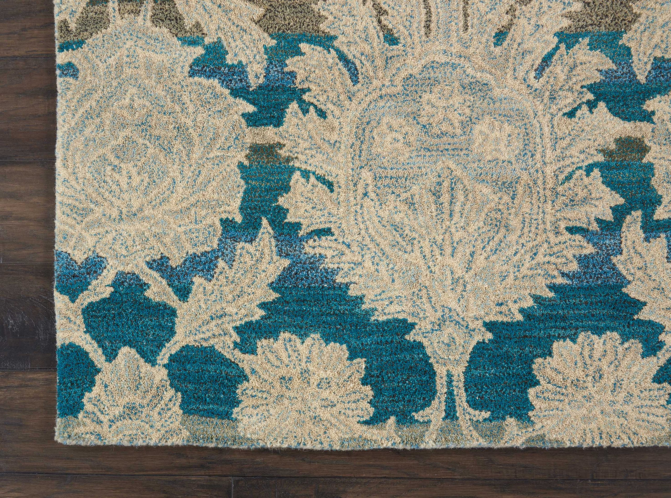 Nourison IH91 India House Area Rug, 8'X10'6'', IVORY/TEAL by Nourison (Image #4)