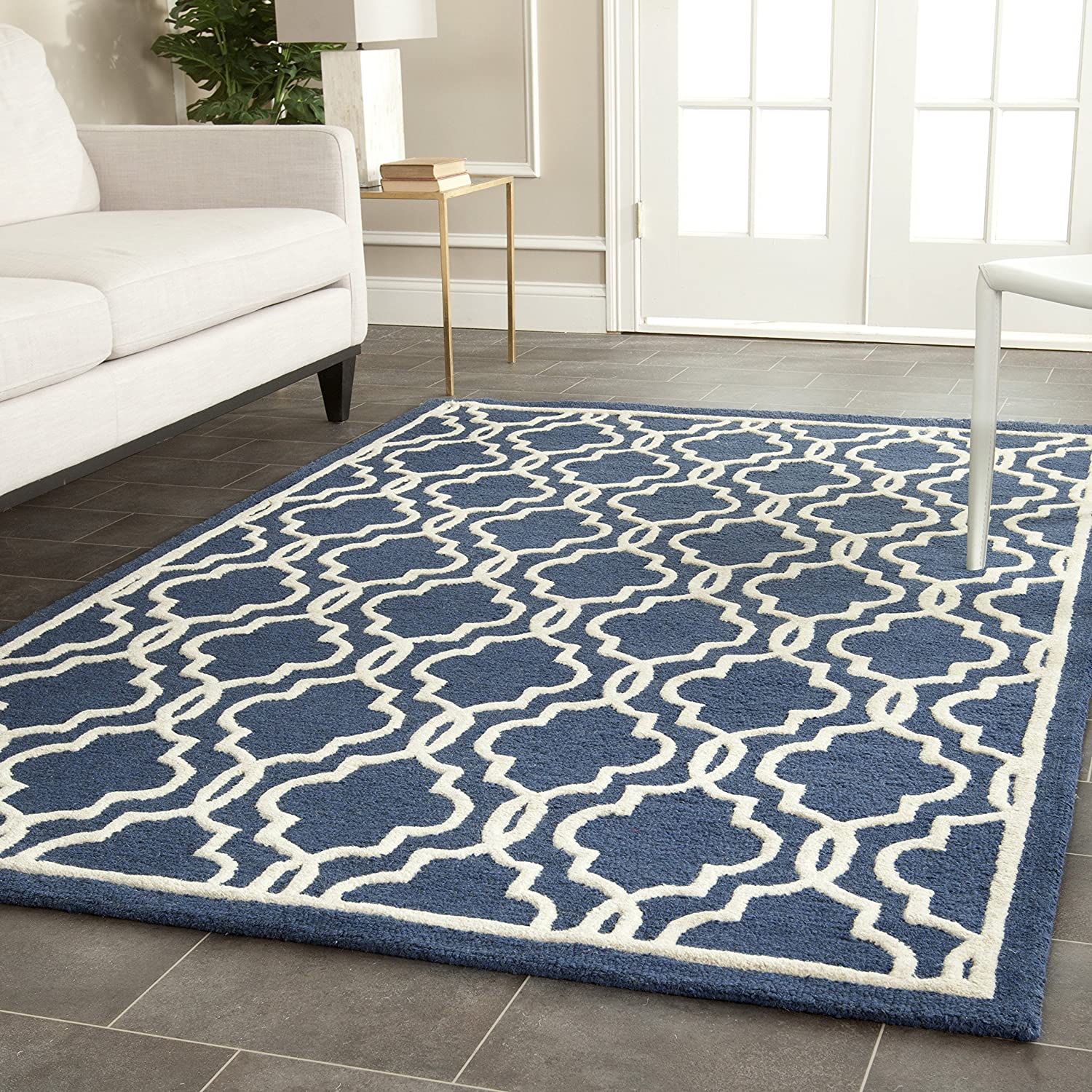 Amazon Safavieh Cambridge Collection CAM131G Handcrafted Moroccan Geometric Navy And Ivory Premium Wool Area Rug 4 X 6 Kitchen Dining