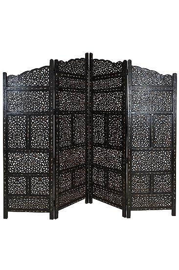 Orientalischer Paravent Raumteiler aus Holz Saraswati 200 x 180cm ...