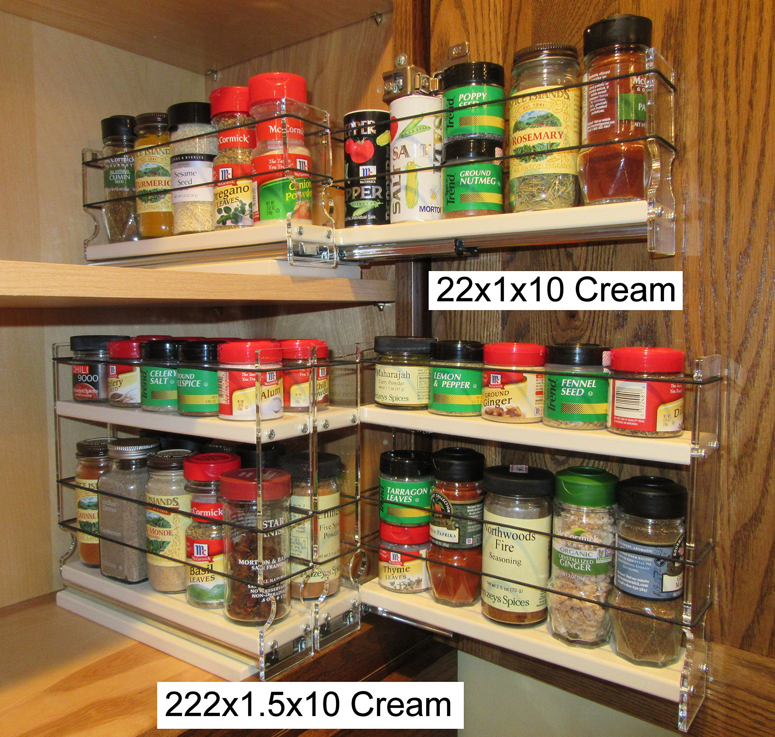 Vertical Spice - 222x1.5x11 DC - Spice Rack - 3 Drawers - 15 Regular/15 Half-size Capacity - Cabinet Mounted by Vertical Spice