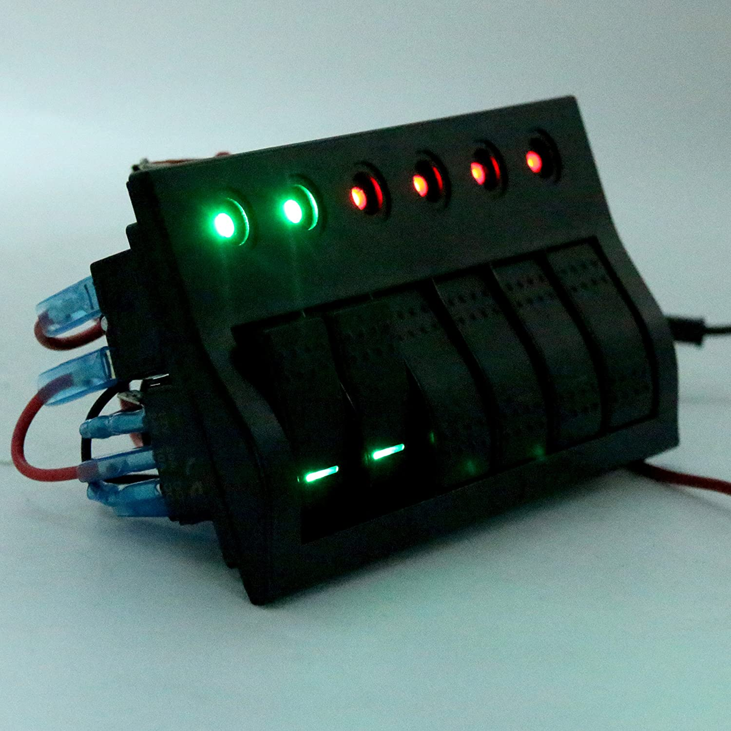 Amarine-made 6 Gang Splashproof Waterproof Rocker Switch Panel Black with Red /& Green LED Indicators for Boat Marine Bridge Control 12v 24v PCB+LED Push Button Circuit Breakers Overload Protected