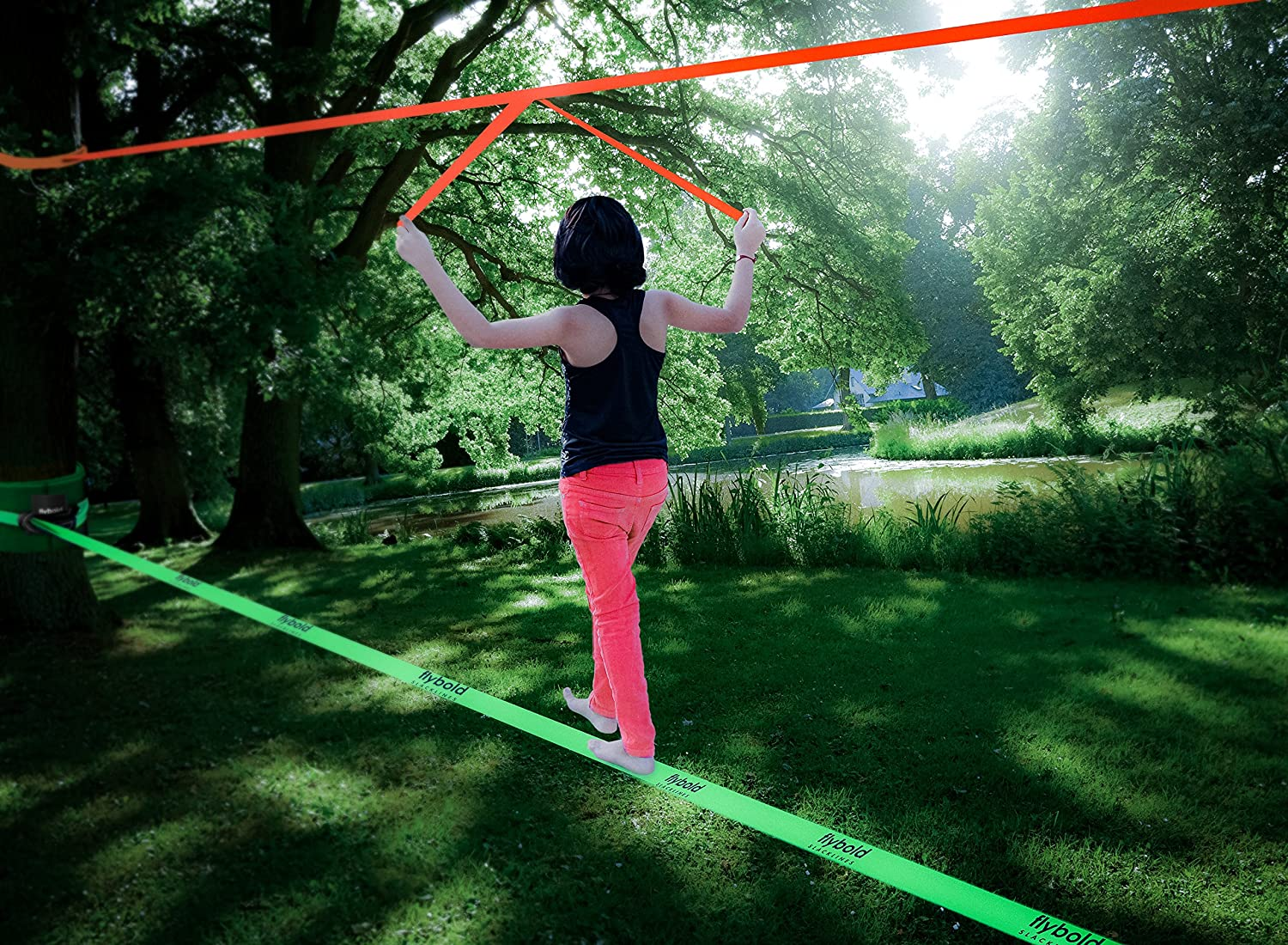 Slackline Kit with Training Line Tree Protectors