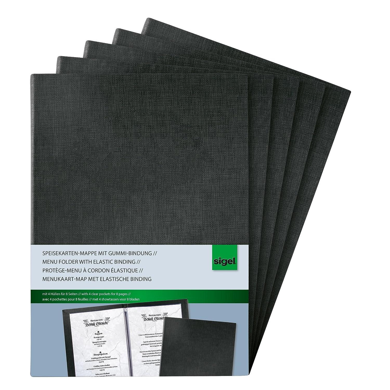 SIGEL SM110 Cubierta para carta-menú, para A4, negro 5 und ...