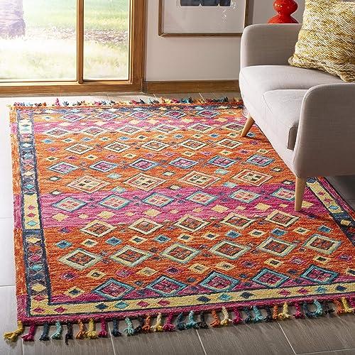 Safavieh Aspen Collection APN138A Orange and Fuchsia Premium Wool Area Rug 5 x 8