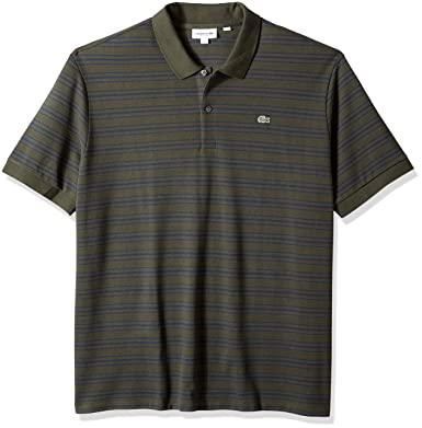 58bc2b1435db0 Lacoste Men s Short Sleeve Reg Fit Petit Pique Polo Withfine Stripes ...