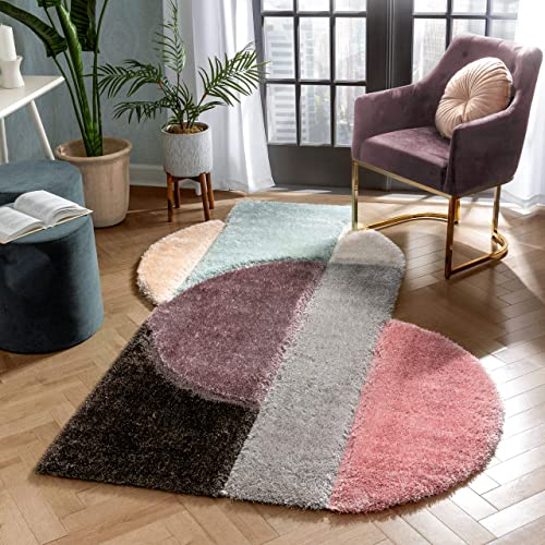 Well Woven Zesi Lavender Blush Abstract Geometric 3D Beveled Shag Area Rug 8×10 7'10″ x 9'10″