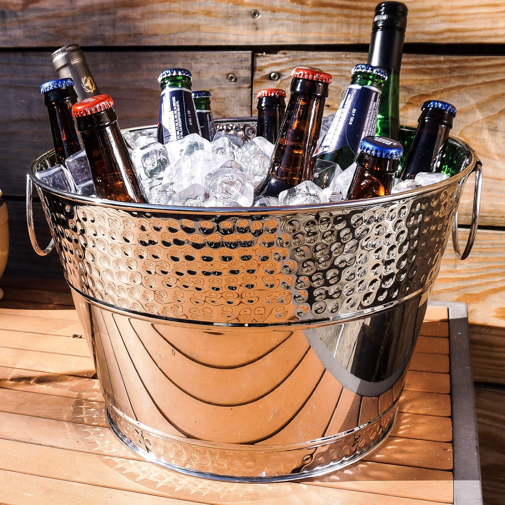 BREKX Hillcrest Stainless Steel Hammered Beverage Tub & Wine Bucket - 15 Quart - Silver