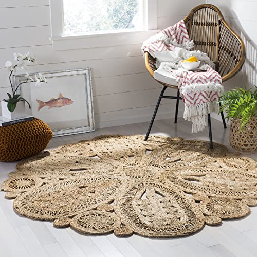 Safavieh Natural Fiber Collection NF360A Hand-Woven Natural Jute Round Area Rug 4'