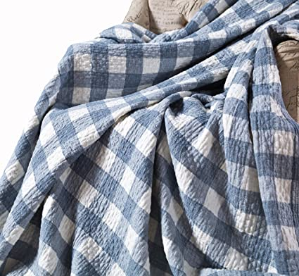 299f4fdaac Amazon.com  MEJU Blue Checks Muslin Lightweight Summer Blanket for ...