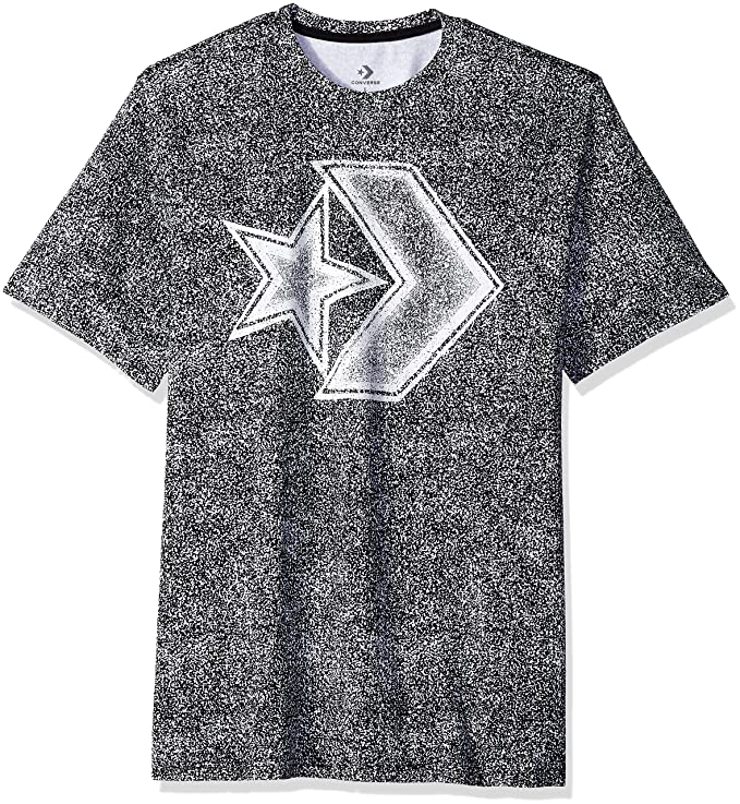 Converse Men's Distressed Star Chevron Short Sleeve T-Shirt, Black, M