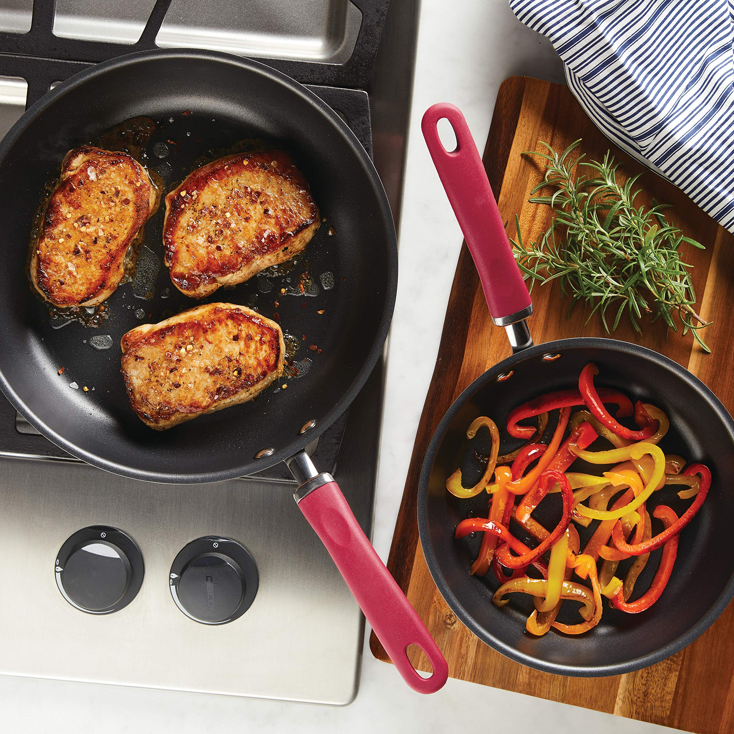 Rachael Ray Create Delicious Hard-Anodized Aluminum Nonstick Deep Skillet Twin Pack, 9.5-Inch and 11.75-Inch, Red Handles by Rachael Ray (Image #2)