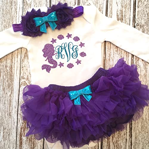 fd3fd058134c Personalized Mermaid Baby Girl Outfit Monogram Purple and Teal Monogrammed Outfit  Mermaid Birthday Party Outfit Opt Tutu Bloomers Headband and Leg Warmers
